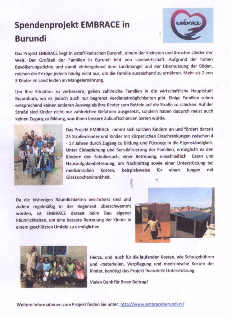 """Informationen zum Projekt """"EMBRACE"""" in Burundi"""